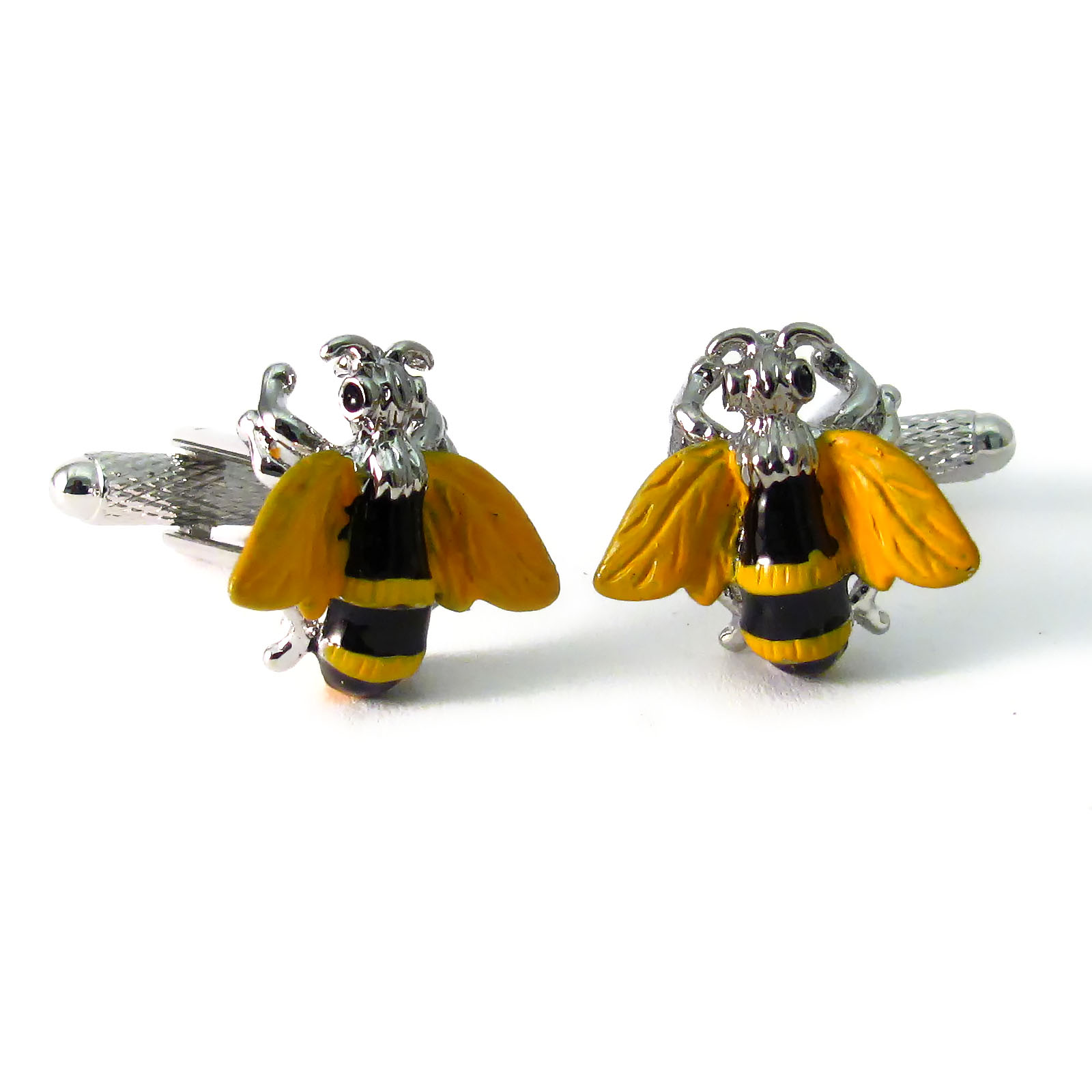 Onyx Art Novelty Men Cufflinks Bumble Bee Design